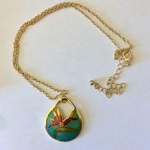 Jewelry - Cloisonné pendant necklace birds of paradise